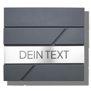 Briefkasten, Anthrazit, mit Namensschild und Hausnummer aus V2A Edelstahl