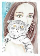 original drawing A4 26KO art by samovar watercolor woman and cat sketch 2020