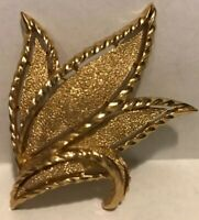 Signed Crown TRIFARI Vintage Textured Gold Tone Brooch Pin