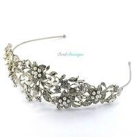 Bridal Wedding Vintage Crystal Pearl Silver Leaf Flower Tiara Headband TH06