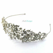 Bridal Wedding Vintage Crystal Pearl Silver Leaf Flower Tiara Headband TH06