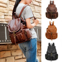 Women Lady Girls Leather Vintage Backpack Shoulder School Travel Bag Rucksack