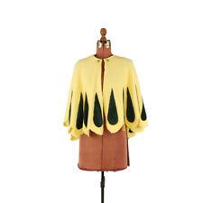 Vintage 60s Yellow + Green Velvet Teardrop Scalloped Mini Capelet Cape Coat