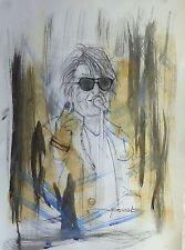 tableau, portrait, original, deco, Jacques Dutronc, vieilles canailles