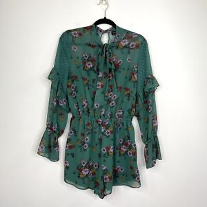 The Fifth Label Womens Playsuit Romper Green Floral Long Sleeve Size M NWOT