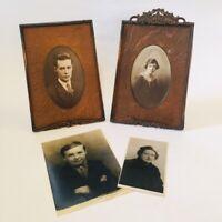 Antique Edwardian bronzed copper frames + wooden mounts & photographic portraits