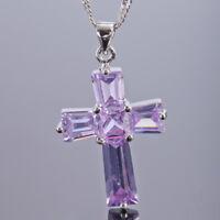 Fashion Jewellery Cross Purple Tanzanite White Gold Gp Pendant Necklace Chain