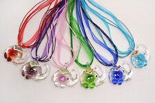 Lampwork Glass Pendants Silk Necklace Free Wholesale Lot 12ps Elephant Flower