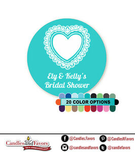 Lace Heart - Round Personalized Bridal Shower/Wedding Sticker Labels 20 colors