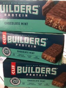 Clif Bar Builder Bar - Chocolate Mint - 3 BOX's Of 12 - 2.4 Oz>36 bars FREE ship