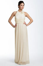 NEW JS COLLECTIONS Pleated Mesh Halter DRESS GOWN SIZE 2 IVORY WEDDING