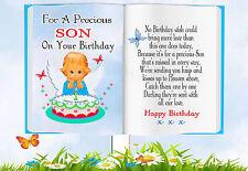 BABY SON BIRTHDAY BOOK SHAPED MEMORIAL BEREAVEMENT GRAVESIDE CARD & FREE HOLDER