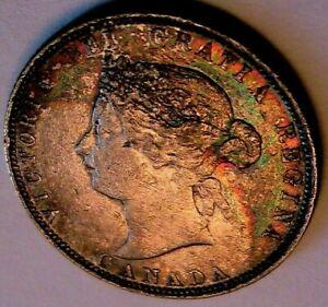 1874-H Canada 25C CH XF+ Rainbow Toned Original Victoria Silver Quarter Coin
