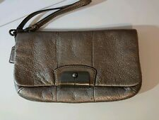 Coach Metallic Bronze Large  Flap Wristlet clutch