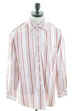 GANT Mens Shirt Large Red White Stripes Cotton Dress Fit