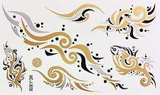 Tattoo Gold Silber Schwarz Einmal Klebe Flash Temporary 7teile Armband WOW 3035