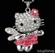 HELLOKITTY CAT ANGEL PENDANT NECKLACE USE SWAROVSKI CRYSTAL WHITE GOLD PLATED