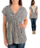 womens tunic blouse babydoll crochet lace applique back floral print Large