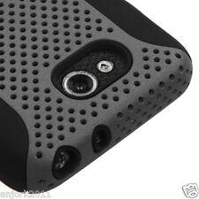 LG Optimus L90 Hybrid Mesh Case Skin Cover Grey Black T-Mobile Metro D405 415
