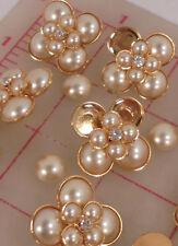 "72 Czech shank buttons gold double layer flower glass pearls rhinestone 1"" 1083"