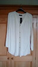 M&S Ladies (Ivory) White Linen Blend V Neck Button Front Blouse / Shirt, size 10