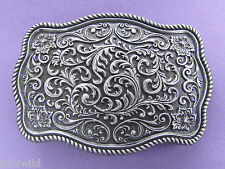Western Pattern Gunmetal Grey Antique Silver Belt Buckle