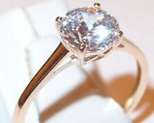 Cubic Zirconia Solitaire (round, 2.0ct) ring in 9K Yellow Gold, Size S.