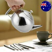 2L Stainless Steel Teapot Tea Pot Coffee Kettle With Tea Leaf Filter Infuser