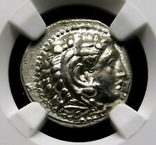 NGC AU 5/5-3/5 Alexander the Great Lifetime Drachm 325-323 BC Greek Silver Coin