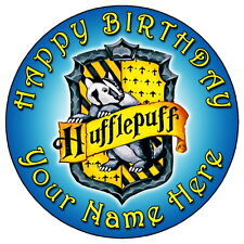 "HARRY POTTER HUFFLEPUFF CREST BLUE - 7.5"" PERSONALISED EDIBLE ICING CAKE TOPPER"