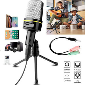 3.5 mm Studio Recording Microphone-Cardioid Condenser Mic w/ Stand For Game Chat
