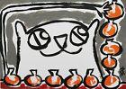 "ACEO Original ""Pumpkin Tower Cat"" Acrylic 2.5 x 3.5 Painting Samantha McLean"