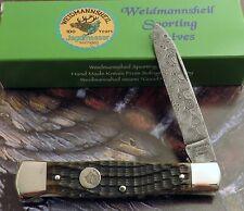 Weidmannsheil Genuine Bone Damascus Coffin Lockblade Knife 2007 Sold Out MIB NR!