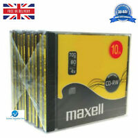 10 x Maxell CD-RW 700 MB (4x) 80 Min ReWritable Compact Disc New Jewel Case HQ