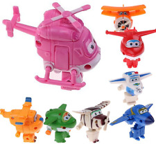 8pcs Set TV Animation Super Wings Transforming Plane Mini Characters Kids Toys