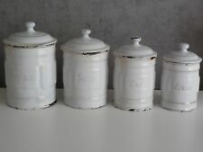 Antique French Enamel CANISTER SET - WHITE w. GILDED words - 4 items