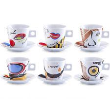 12 pièces Cappuccino Ensemble de coupe Visages Multicolore Service à café