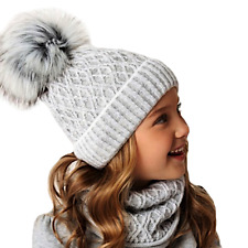 AJS Mädchen Winterset Mütze Wintermütze Strickmütze Bommelmütze Loopschal Wolle