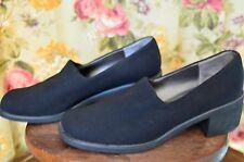 Liz Claiborne Crazy Horse Size 10M Black Womens Sq Toe Stretch Upper 2.25in heel