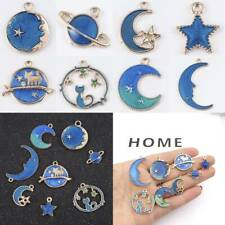 8PCs Cute Moon/Star/Planet Enamel Charm Pendant For DIY Earrings Bracelet Making