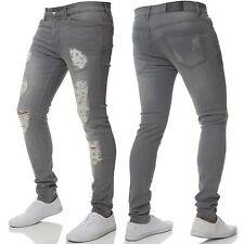 Enzo Mens Designer Super Skinny Stretch Jeans Knee Ripped Distressed Denim Pants