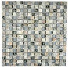 Mosaico Mattone Trasparente Vetro Resina Quarzite grigio 92-02M7_f | 10 foglie