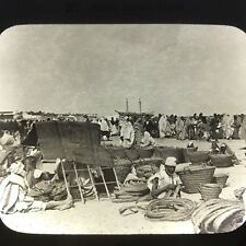 Antique Magic Lantern Glass Slide Photo Basket Market Shores Of Tripoli