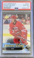 2016 2017 Sebastian Aho PSA 10 FOIL UPPER DECK YOUNG GUNS ROOKIE CARD RC UD #210