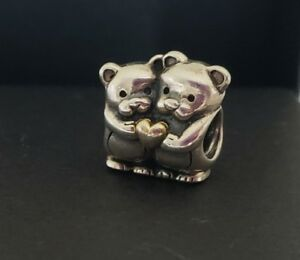 AUTHENTIC PANDORA BEARS PERFECT TOGETHER 14K YELLOW GOLD  STERLING SILVER BEAD