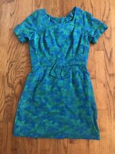 Vintage Blue Green Brocade Shift Sheath Dress Tie Waist Belt Mad Men 1960s 1970s
