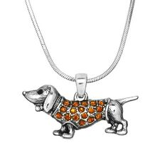 """Wiener Dog Charm Pendant Fashionable Necklace - Sparkling Crystal - 17"""" Chain"""
