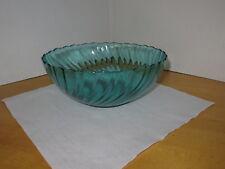 Glass Serving Bowl / Salad Bowl By Arcoroc France Aqua Green Swirl Pattern