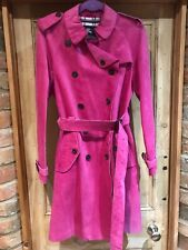Burberry Suede Pig Skin Trench Coat Size 10 Bnwt Ex Shop Display Pink Rrp £4000