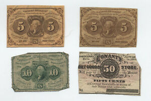 4 1860s fractional and scrip currency 1st issues [y6239]